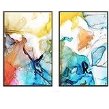 Set de carteles con marcos – Impresión Premium – Póster para sala de estar – Cuadro...