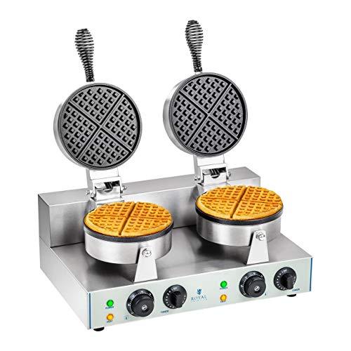 Royal Catering RCWM-2600-R Waffeleisen Waffelgerät Waffelautomat Waffle Maker Belgische Waffel Doppelt Rund (2 x 1.300 Watt, Timer 15 min, Teflon & Aluminium, Edelstahl)