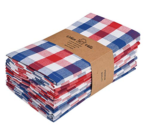 Urban Villa Dinner Napkins, Everyday Use, Premium Quality,100% Cotton, Set of 12, Size 20X20 Inch, Red/Blue/White Over Sized Cloth Napkins with Mitered Corners, Ultra Soft, Durable Hotel Quality