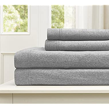 Morgan Home Fashions Cotton Rich T-Shirt Soft Heather Jersey Knit Sheet Set - All Season Bed Sheets,, Warm Cozy (Queen, Heather Grey)