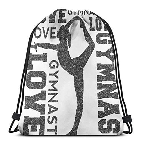 Love Gymnastics Gymnast Print Drawstring Backpack,Sackpack String Bag Cinch Water Resistant Nylon Beach Bag for Gym Shopping Sport Yoga