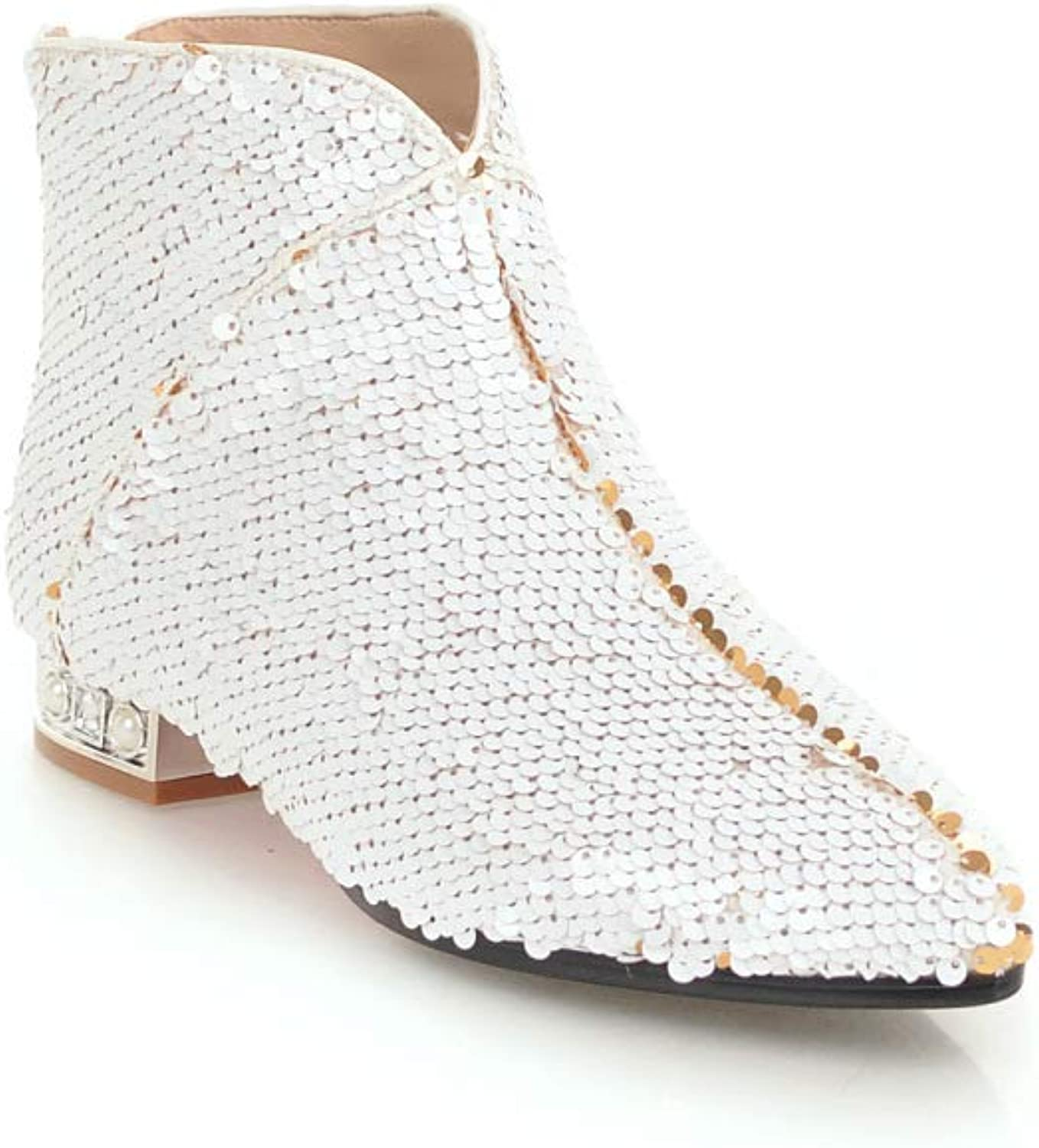 Women Simple Sequined Ankle Boots 2018 Autumn New Low-Heeled Martin Boots Size 32-43