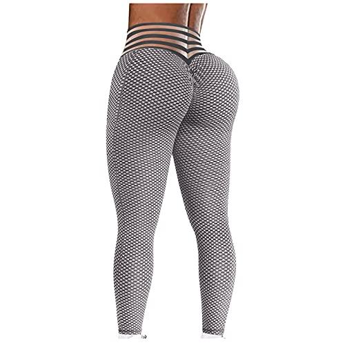 XAJ Mallas Push up Mujer Leggins Deportivos Yoga Leggings de Cintura Alta Pantalones Deporte para Fitness Running Elásticos y Transpirables Patrón de Burbuja