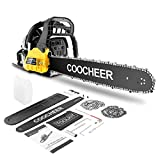 COOCHEER 62CC Chainsaw, 20 Inch Chainsaw, Gas Powered Chainsaw with Auto Oiler, 2 Stroke Handheld Gasoline Chain Saw for Tree Stumps, Limbs, Tree Felling, and Firewood Cutting(Yellow)