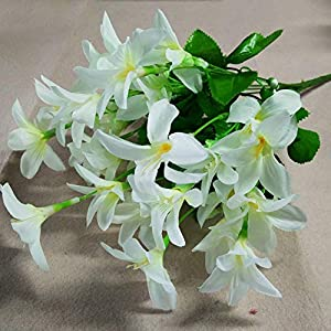 Artificial and Dried Flower 10 Forks Artificial Narcissus Flowers Simulation Daffodils Wedding Decoration Fake Flowers Home Party Centerpieces Flowers – ( Color: White )