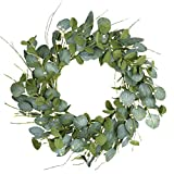 """Artificial Greenery Wreath,20"""" Silver Dollar Eucalyptus Leaves Wreath with Pip Berries Green Spring/Summer Wreath for Front Door Wall Window Decor and Festival Celebration"""