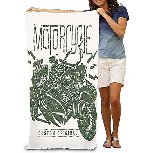 chillChur-DD Bath Towel Asciugamano da Bagno Morbido Telo da Spiaggia Unico Morbido Motociclo Militare con Stampa Disegnata a Mano Sidecar