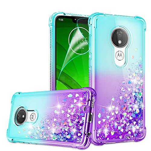 Moto G7 Power Optimo Maxx XT1955DL/Moto Supra Hülle mit HD-Displayschutzfolie für Mädchen und Frauen, Gritup süßer klarer Farbverlauf Glitter Flüssig TPU Handyhülle Motorola Blaugrün/Violett