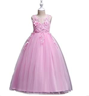 Pure Color Mesh Dress for 4-14 Years Old Girls Flower Party Princess Dress (Color : Pink, Size : 160cm)
