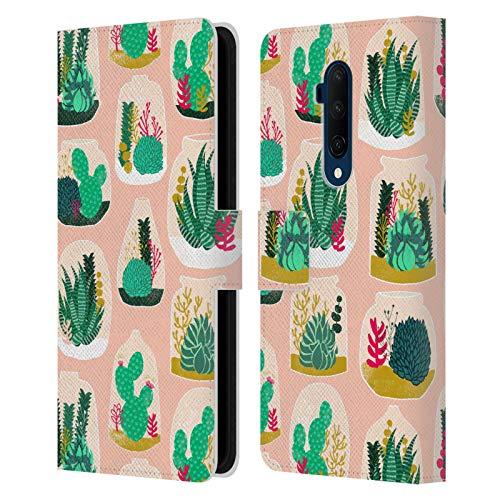 Officiële Andrea Lauren Design Terrarium Plant Patroon Lederen Book Portemonnee Cover Compatibel voor OnePlus 7T Pro