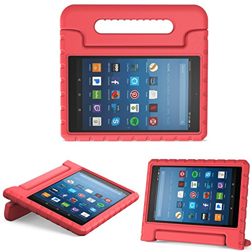 MoKo Nuevo Amazon Fire HD 8 2018 2017 Funda - Portátil Shock Proof Lightweight Kids Protector Parachoque Cover Case con Manija para All-New Fire HD 8 Tablet, Rojo