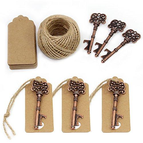 TsunNee Abrebotellas de llave, abridor de cerveza vintage para boda con etiquetas de cartón, suministros para barra de banquete de fiesta, 20 piezas