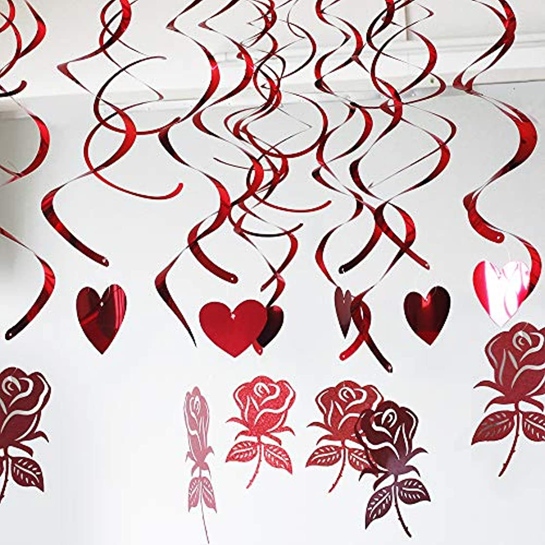 zeman Glitter Red Hearts and Rose Swirls Decoration Hanging Swirls Garland Foil Ceiling Ornaments for Wedding Engagement Bridal Shower Bachelorete Festival Party Decorations