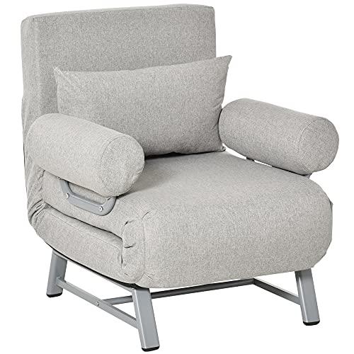 HOMCOM Fauteuil chauffeuse canapé-lit Convertible inclinable 1 Place Grand Confort Coussin lombaires accoudoirs piètement métal Lin Gris Clair
