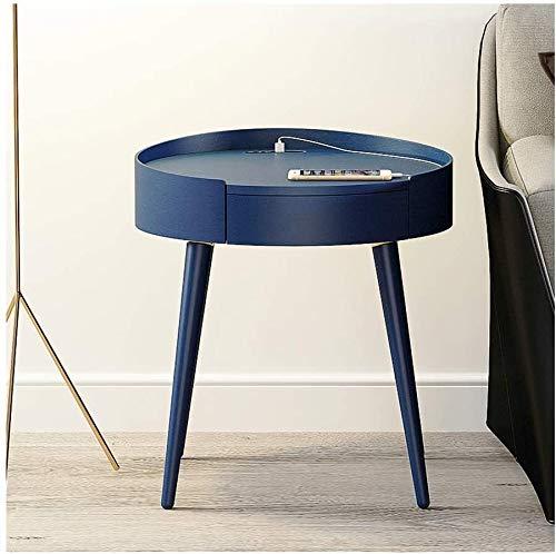 HLJ Intelligente Nachttisch, mit USB-Schnittstelle, Bluetooth Audio, eingebauter Batterie, Holz 1 Schubladen (Color : C)