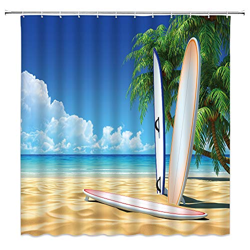BCNEW Surfboard Shower Curtain Decor Blue Ocean Sea Golden Beach Green Palm Tree Landscape Sport Surfing Bathroom Curtain Polyester Fabric Machine Washable with Hooks 70x70 Inches