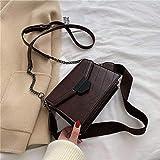 Mdsfe Bolsos Cruzados de Cuero PU de Color sólido para Mujer 2020 Bolso pequeño de Hombro Simple Bolsos de Cadena y Monedero para Mujer-Café, 20 cm x 16 cm x 9 cm