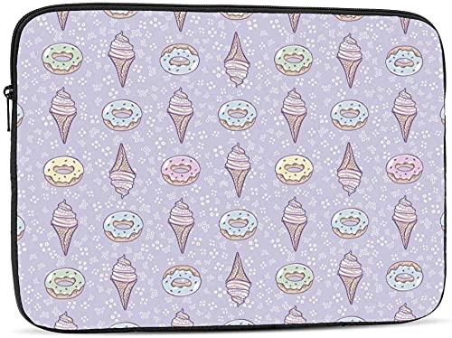 BONRI Funda para portátil con colibrí y rosa roja compatible con estuche para ordenador portátil de 10-17 pulgadas, estuche para portátil, cono de helado y rosquilla, 10 pulgadas
