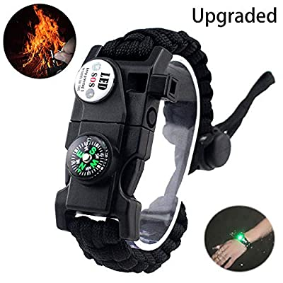daarcin Paracord Survival Bracelet,with Waterproof SOS Light, Fire Starter,Compass, Whistle, Adjustable AK87 20 in 1,Outdoor Ultimate Tactical Survival Gear Set,Gift for Kids,Men