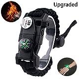 daarcin Paracord Survival Bracelet,with Waterproof SOS Light, Fire Starter,Compass, Whistle, Adjustable AK87 20 in 1,Outdoor Ultimate Tactical Survival Gear Set,Gift for Kids,Men