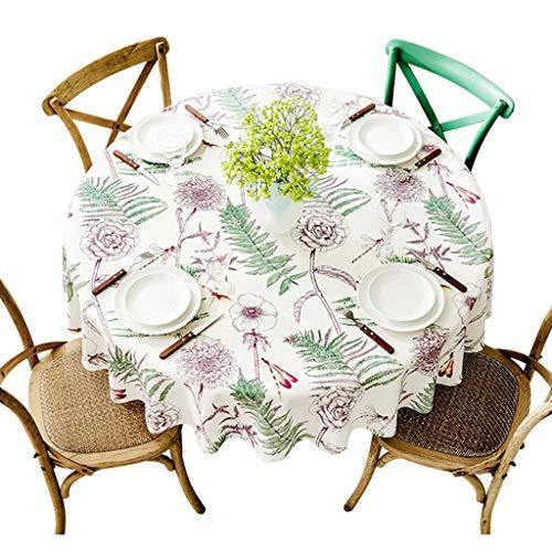 Style Européen Rétro Nappe Florale Maison Ronde Grande Nappe Salon Coton Et Lin Table Basse Tapis De Table Bleu Style Pastoral (taille : Diameter 180cm)