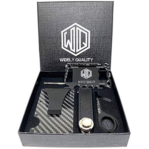 Carbon Fiber Wallet Money Clip - RFID Blocking - Complete Gift Set f Including Key Holder Organizer- Touchless Door Opener and Multi Tool Card- Minimalist CardHolder- Slim & Lightweight Wallets