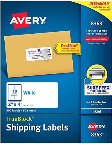 Avery Shipping Address Labels, Inkjet Printers, 500 Labels, 2x4 Labels, Permanent Adhesive, TrueBlock (8363) , White