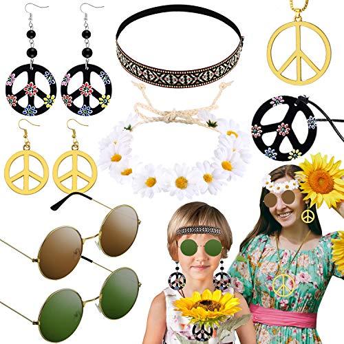 QIQU 8-teiliges Hippie-Kostüm-Set mit Sonnenbrille, Bohemi-Stil, Haarband, Peace-Zeichen-Halskette und Ohrringen für 60er und 70er Jahre Hippie-Kostüme