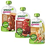 Sprout Organic Baby Food Stage 2 Plant Protein Variety Pack, Strawberry Apple Beet Red Beans, Apricot Banana Chickpea Fig, 18Count