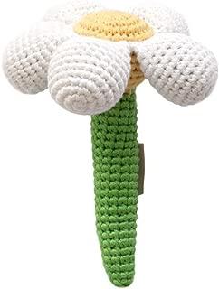 Cheengoo Sustainable Organic Bamboo Hand Crocheted Stick Rattle - White Daisy Flower