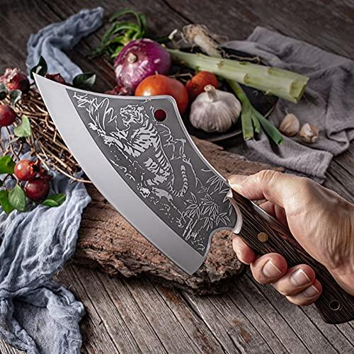 Cuchillo de chef de acero inoxidable Cuchillo de caza al aire libre Cuchillo de cocina forjado para carne de hueso Fruta Fruta Verduras Cuchillo de carnicería (Size : 1pcs)