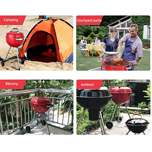 51HVpcGCWlL. SL500  - M-YN Tragbarer Holzkohlegrill Edelstahl Barbecue Grill Smoker Holzkohlegrill for Camping Picknick im Freien Garten-Party Grill BBQ, (Color : Red)