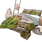 Juego de colchas de 3 piezas con paisaje, suave y liviano, para todas las estaciones, vista temática de la naturaleza de Bath Town sobre el río Avon en Inglaterra Impresión digital tamaño completo Fer