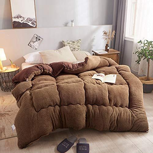 Manta de cachemira gruesa de cordero para invierno, manta de cordero de cachemira, mantas pesadas para cama doble de invierno, manta de forro polar para el hogar, dormitorio,café, 180cmx220cm