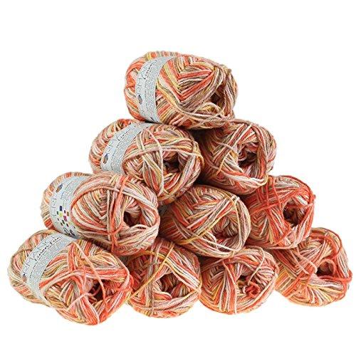maDDma 500g Strickgarn Linen Fun Mischgarn Häkelgarn Strick-Garn, Farbe:9075 rosa-rot-braun