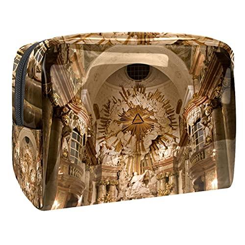 Bolsa de maquillaje portátil para viaje, bolsa de cosméticos, organizador impermeable grande para mujeres y niñas, estilo azul cielo, Charles Boromeo Iglesia, 18.5x7.5x13cm/7.3x3x5.1in,