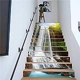 pared pintura vinilo Escalera calcomanía Decoración -Pegatinas de PVC 3D autoadhesivas 13 piezas de escaleras adhesivos pegatinas de pared paisaje de cascada