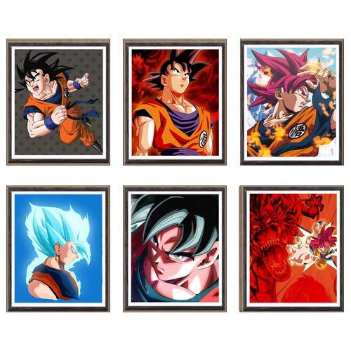 MS Fun Ultra Instinct Dragon Ball SSJ Super Saiyan Goku Vegeta Vegetto Japonés Anime Art Prints Decoración de pared, 8 x 10 pulgadas, sin marco, juego de 6 piezas