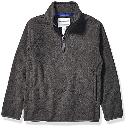 Amazon Essentials Jungen Quarter-Zip Polar Fleece Jacket, grau, Medium