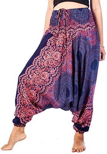 LOFBAZ Harem Yoga Pants for Women Hippie Boho Bohemian Clothing Womens Beach Indian Gypsy Clothes Genie Maternity Jumpsuit Rose 1 Dark Blue
