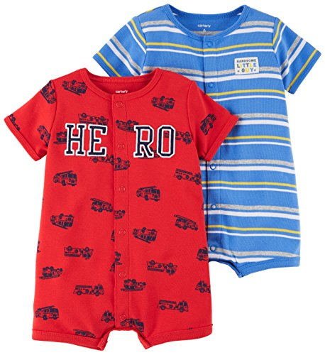 Carter's Baby Boys' 2-Pack Snap-up Romper, Hero/Dog, 9 Months