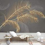Pintura de pared moderna personalizada de plumas doradas waffy 3D