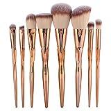 Pincel de maquillaje 8Pcs/Set Pinceles de maquillaje Fundación Sombra de ojos Blush Lip Blending Kit de herramientas cosméticas(Oro rosa)
