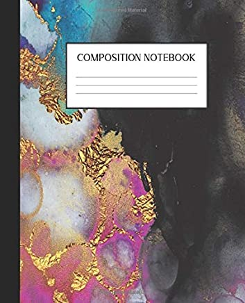 Composition Notebook: Geode Rocks College Ruled Notebook | Lined Journal | 100 Pages |  7.5 x 9.25 | School Subject Book Notes | Pretty Faux Gold| ... Teacher| Geology| Agate| Rock Hound| Crystal