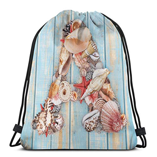 LLiopn Drawstring Sack Backpacks Bags,Letter A with Seashells On Pale Wooden Board Invertebrates Animal,Adjustable.,5 Liter Capacity,Adjustable.