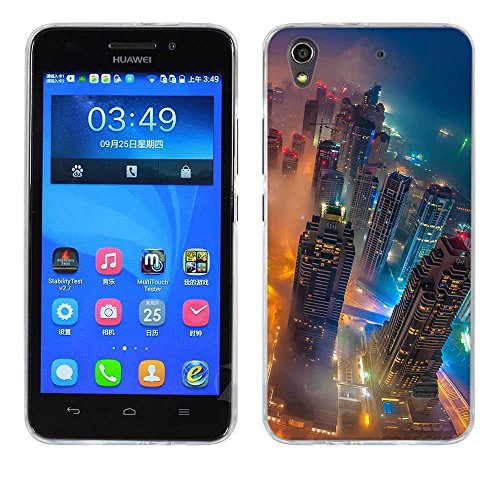 FUBAODA para Huawei Ascend G620S (Honor 4 Play) Funda, [Foresta Piano Città] Prima Híbrido Anti-rasguños Marco Bumper Carcasa Doble Capa TPU de Funda para para Huawei Ascend G620S (Honor 4 Play)