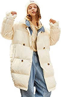 Women's Jacket Autumn and Winter Cold Warm Coat Denim Stitching Natural Fluff Filling Thickening in The Long Section (Color : White, Size : M)