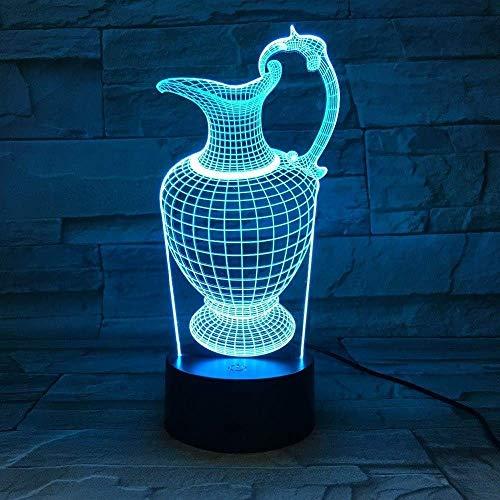 Florero de luz de noche 3D, luz de botella, luz de noche acrílica, luz de sueño USB, lámpara de mesa de ahorro de energía, decoración del dormitorio, transporte por goteo