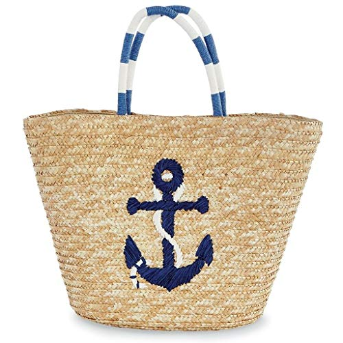 Mud Pie E9 Women's Fashion Summer Resort Sea Straw Tote 80300011 (Navy Anchor)