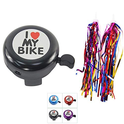 GOOKUURL - Timbre de bicicleta para adultos y niños, accesorio para bicicleta con 1 par de borlas para decoración infantil (negro) ⭐